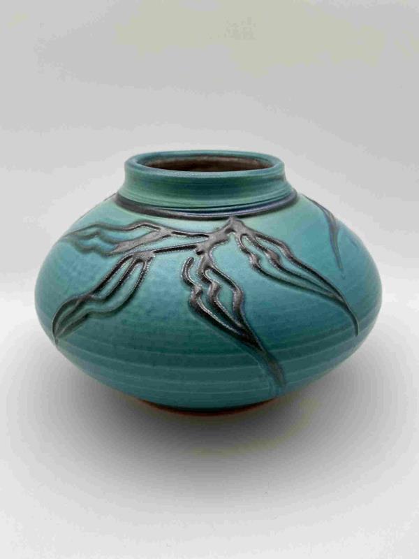 Short Round Turquoise Porcelain Vase